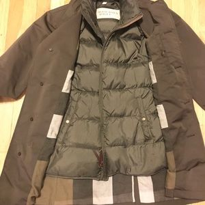 Gently worn Burberry trench raincoat with vest